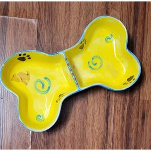 Hand Painted Double-Sided Doggie Dish